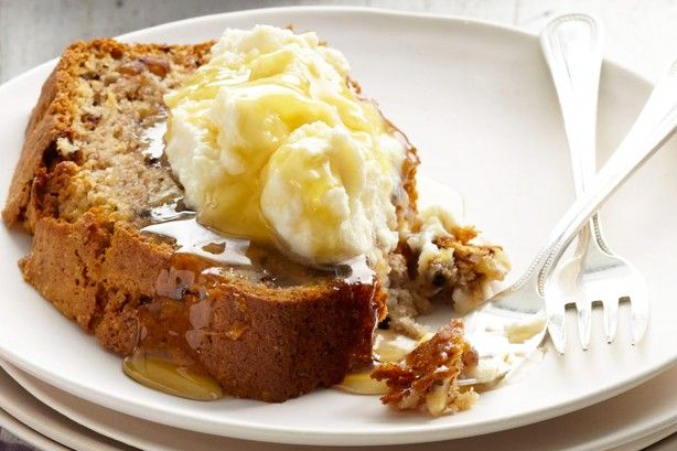 Bake this sensational banana bread by Curtis Stone for your family - the recipe wendy uses. She uses milk instead of yogurt, brown sugar instead of white sugar and skips the walnuts.