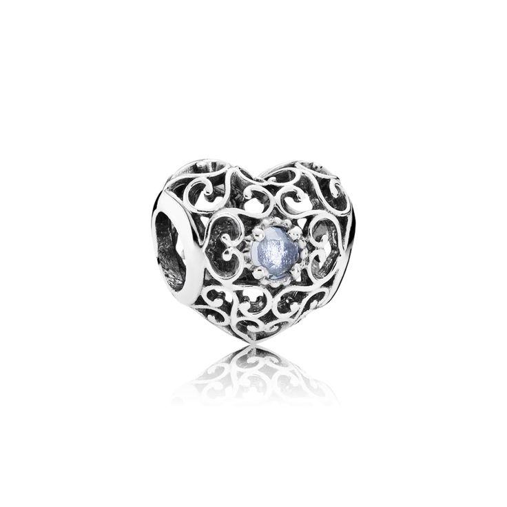 March Signature Heart Birthstone Charm - Pandora UK   PANDORA eST
