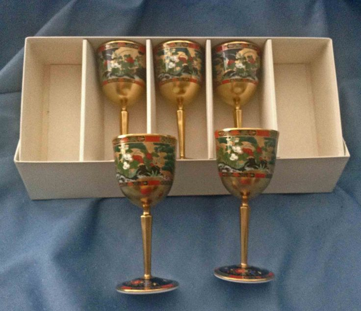 5 Matching Oriental Glasses with Box, MINT Condition, Asian Decor, Oriental Wine Glasses, Asian Barware by KathyKupboard on Etsy