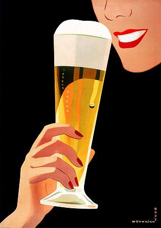 Vintage Poster - Red Lipstick - Beer - Drinking - Alcohol