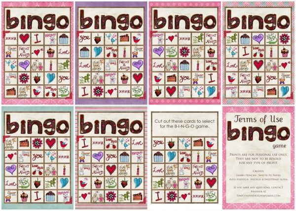 valentines day bingo game from simply fresh designs - Free Valentine Games