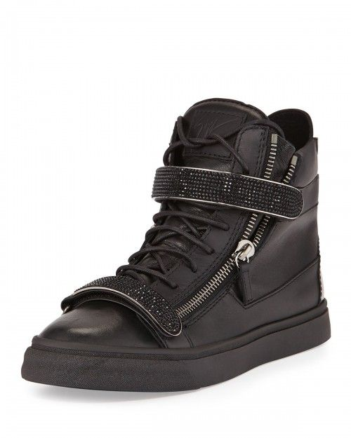 Giuseppe+Zanotti+Men's+Leather+High+Top+Sneakers+Black+41eu+8d+|+Shoes+and+Footwear