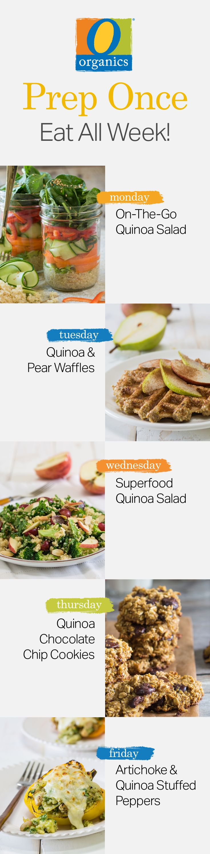 Prep your O Organics® quinoa once and enjoy five nights of healthy and delicious meals!