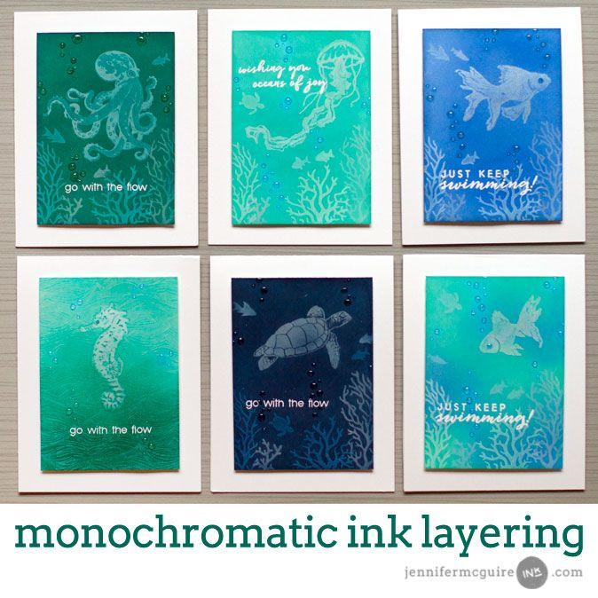 Monochromatic Ink Layering + Hop + Giveaway   Jennifer McGuire Ink   Bloglovin'