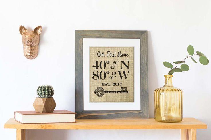 Personalized Housewarming Gift Burlap Print, GPS Coordinates Gift, Latitude Longitude Sign, House Warming Gift, Address Sign, New Home Gift by KNOTnNEST on Etsy https://www.etsy.com/listing/191252996/personalized-housewarming-gift-burlap
