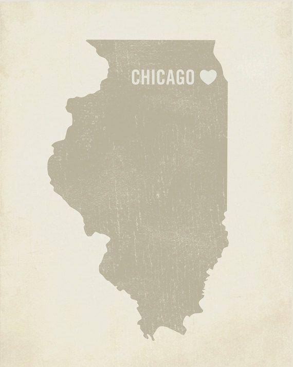 I Love Chicago 8x10 Art Print - Illinois City State Heart $18