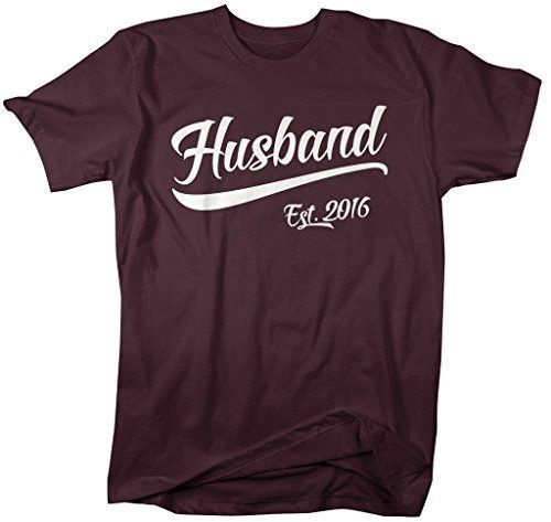 Shirts By Sarah Men's Husband Est. 2016 T-Shirt Wedding Anniversary Shirts