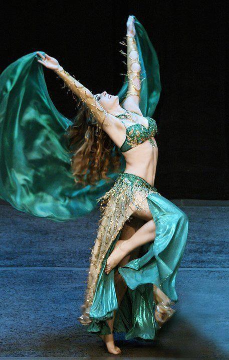 green belly dancing costume