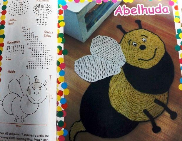 era Tapete de Crochê em Formato de Abelha-Amor por Art em Crochê