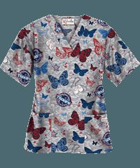 UA Support Our Troops Grey Print Scrub Top