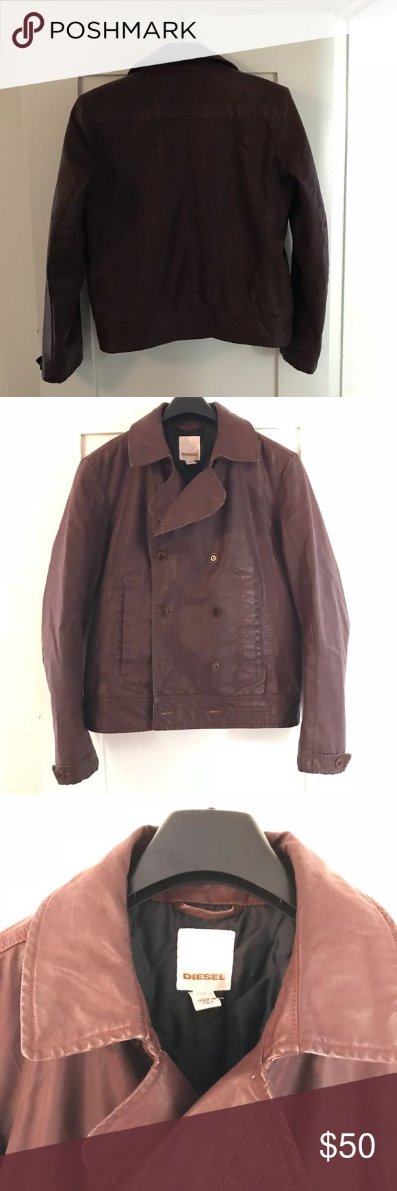 Diesel men's jacket L Waxed Cotton men's diesel jacket / pea coat . Brown, size L. Made in Italy!! - - Make an offer! Diesel Jackets & Coats Pea Coats