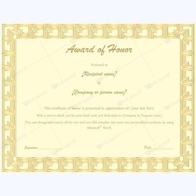 15 best award of honor certificate templates images on Pinterest - certificate template