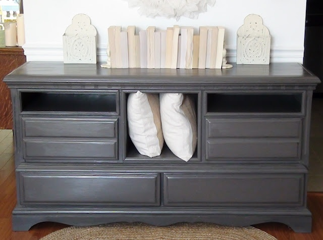 Refinished Dresser Color Valspar Semi Sweet In Semi Gloss Black Undertones Sealed With