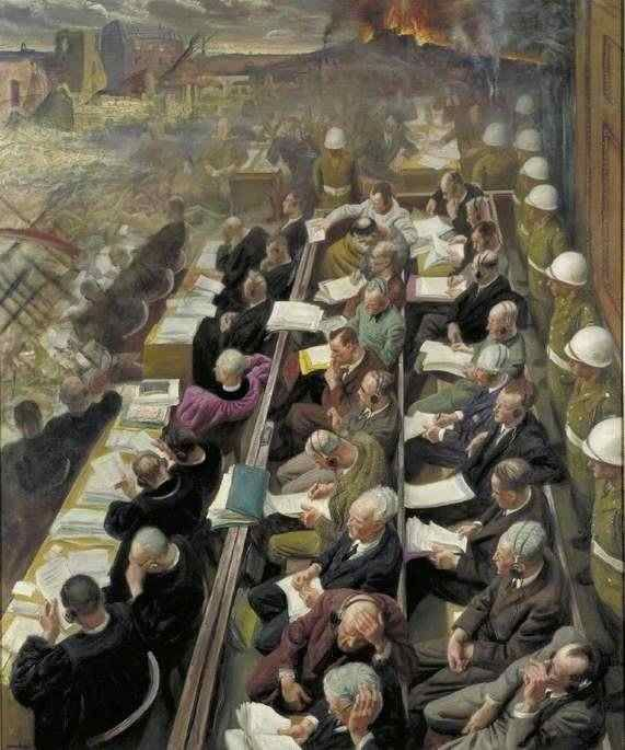 The Nuremberg Trial by Laura Knight (1946),  Imperial War Museum