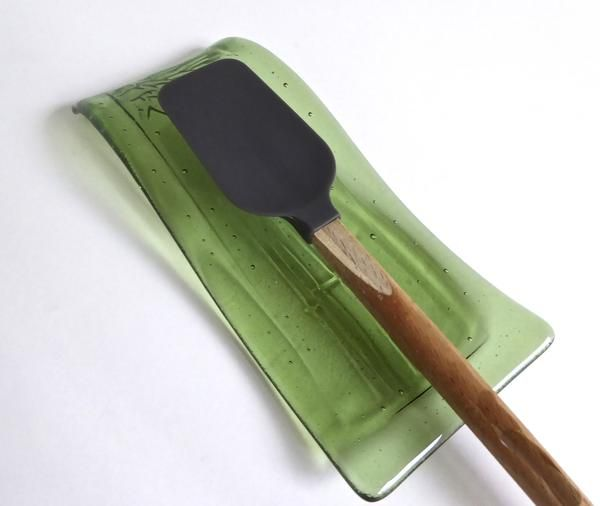 Fused Glass Bamboo Imprinted Spoon Rest in Leaf Green by BPRDesigns