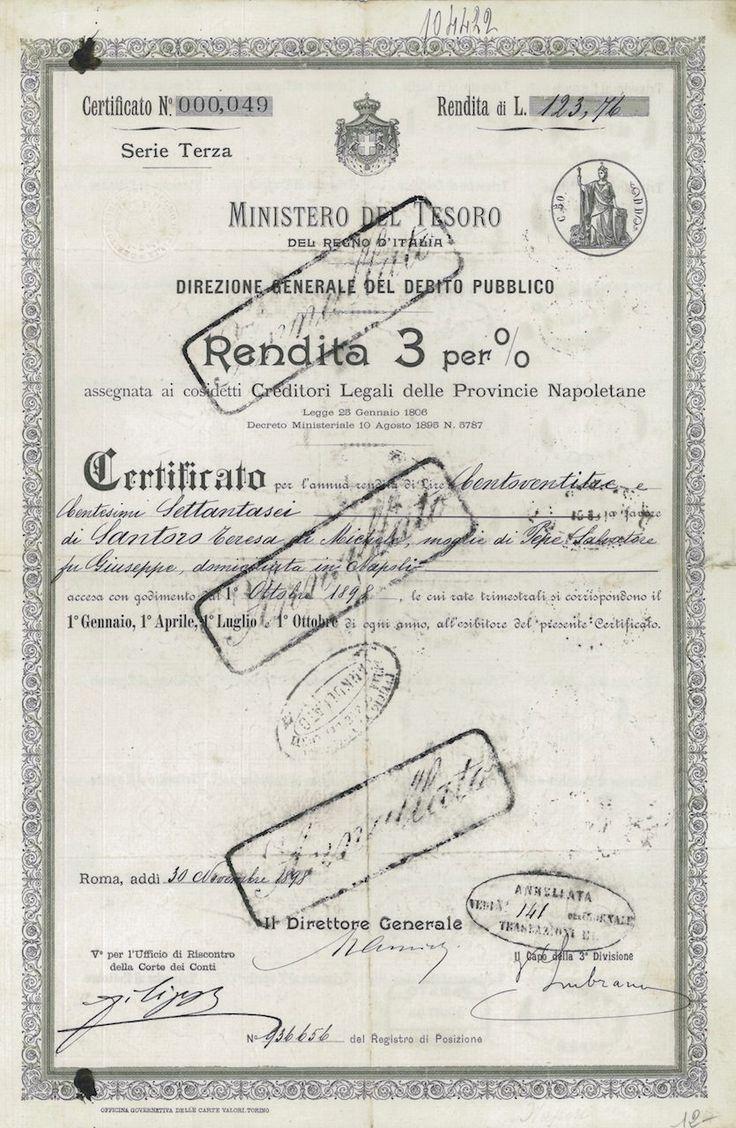 MINISTERO DEL TESORO DEL REGNO Du ITALIA DIR GEN DEL DEB PUBBL