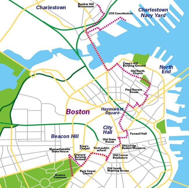 Boston Freedom Trail Mapalso Look At Maritime History Self: Freedom Trail Boston Map At Slyspyder.com