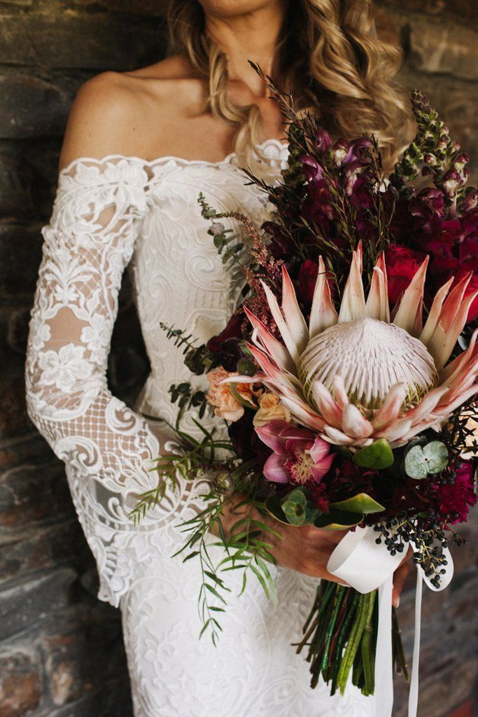 Leah And Henry Viva The Flower Store Harvest Kitchen Flowers By Viva The Flower Store Www Protea Wedding Orchid Bouquet Wedding Elegant Wedding Bouquets