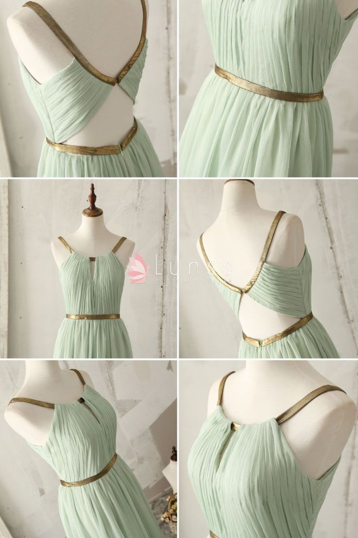 Too much skin lol, but - gold strap floor length a line light green bridesmaid dress