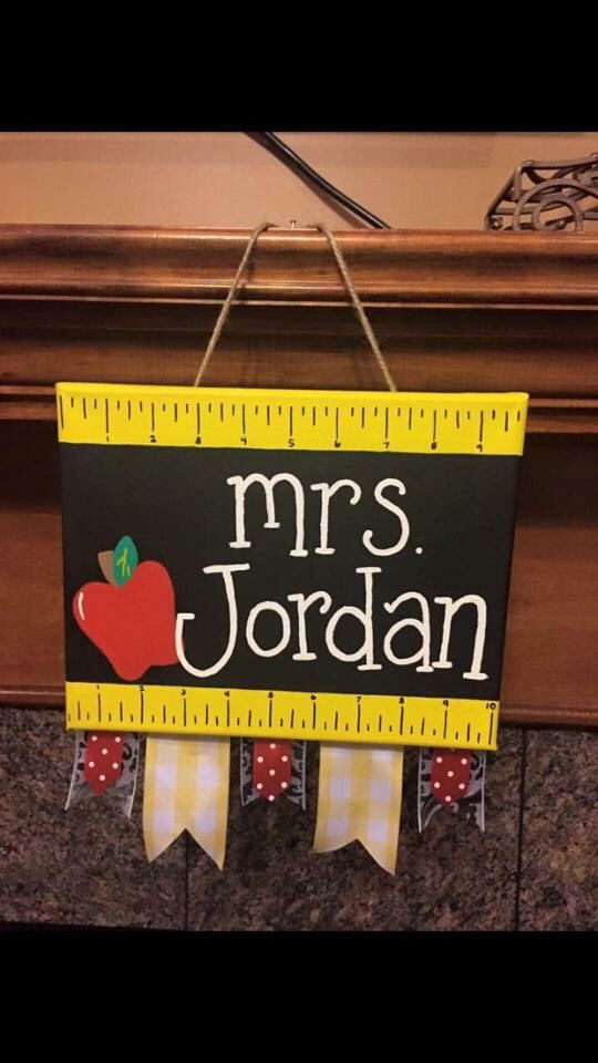 "8""x10"" canvas for teacher. $20 without ribbon at bottom. $25 with ribbon."