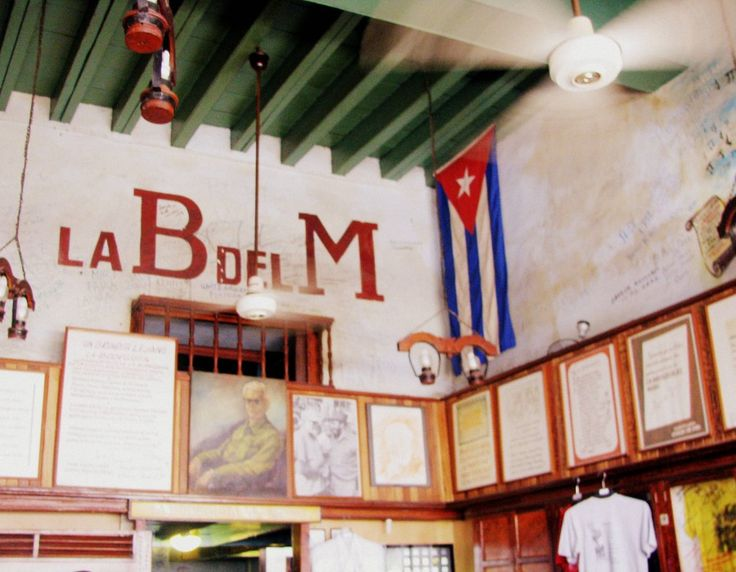 Interiors of La Bodeguita del Medio in Old Havana, Cuba.