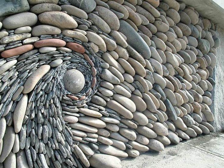 cool gartenzaun sichtschutz mit steinen in 3d form sichtschutz im garten pinterest piedras. Black Bedroom Furniture Sets. Home Design Ideas