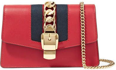 740a9a026833c Gucci - Sylvie Mini Chain-embellished Leather Shoulder Bag - Red ...