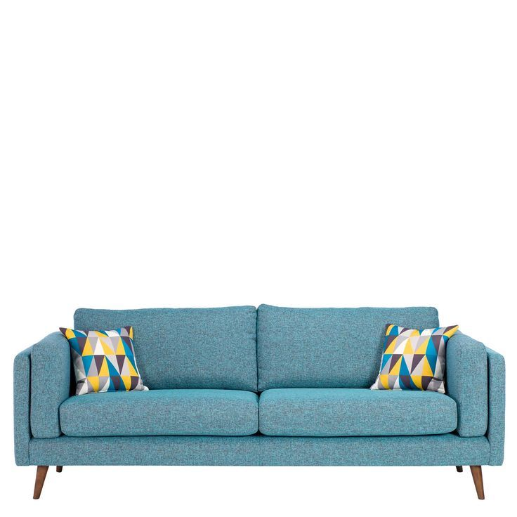 Add cool contemporary style to your home with the Juni sofa, upholstered in a marine blue fabric with statement scatter cushions.