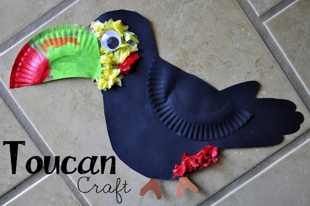 Toucan Craft made out of paper plates, paint, construction and tissue paper.