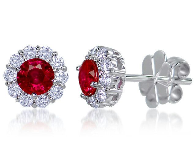 Gorgeous Ruby & Diamond 18ct White Gold Stud Earrings by StartJewellery on Etsy