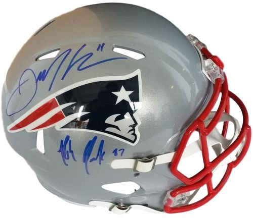 Rob Gronkowski Julian Edleman Patriots Signed FS Speed Rep Helmet JSA