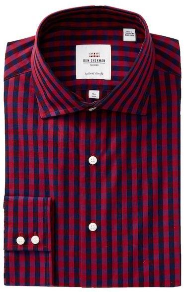 Ben Sherman Exploded Gingham Royal Tailored Slim Fit Dress Shirt