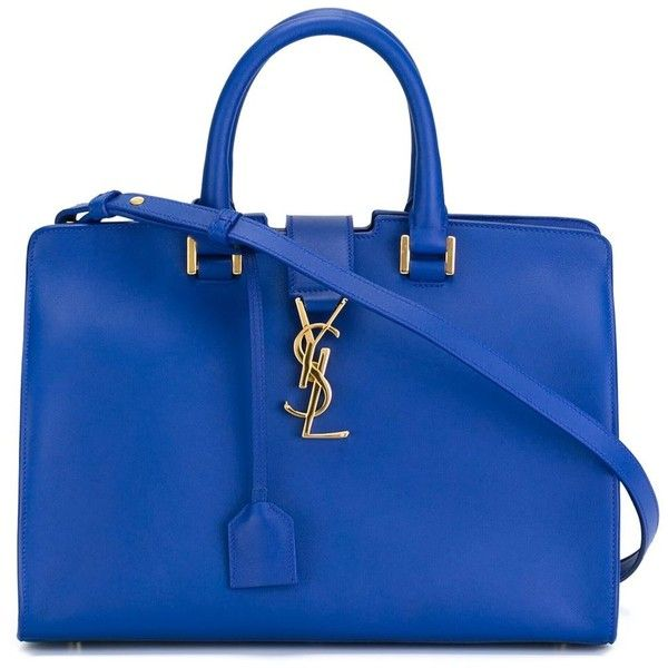 Saint Laurent Small Cabas Monogram Tote (£1,630) ❤ liked on Polyvore featuring bags, handbags, tote bags, blue, zip top tote, yves saint-laurent tote, blue handbags, yves saint laurent handbags and blue purse