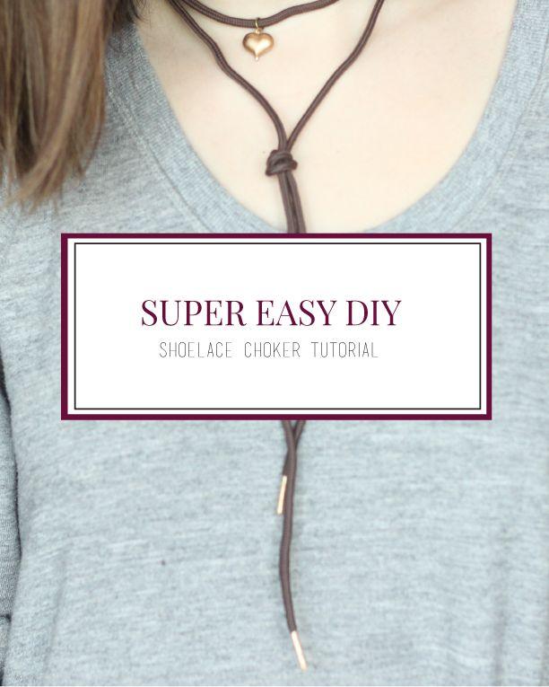 Super Easy DIY Shoelace Choker   Florals + Teacups