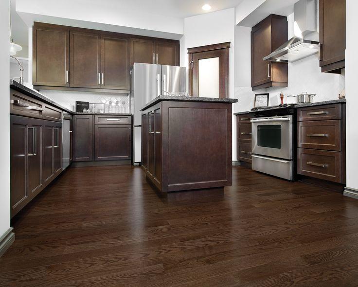 Mirage Floors, the world's finest and best hardwood floors. Red Oak Waterloo #redoak #mirage #hardwood #flooring #waterloo #kitchen #brown