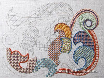 Stitch Fun lattice work embroidery sampler