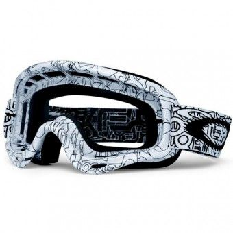 Masque Cross Oakley O Frame MX White Factory Text  http://www.icasque.com/Equipement-cross/Equipement-moto-cross/Masque-Cross/O-Frame-MX-White-Factory-Text/