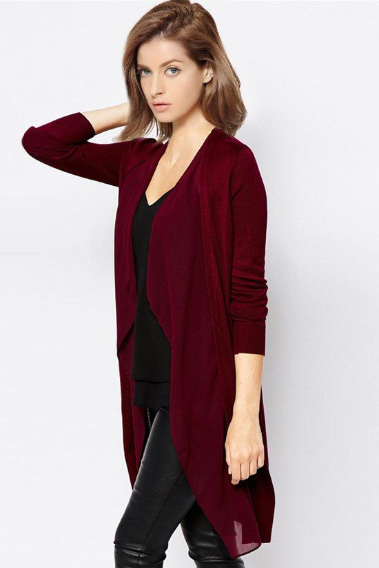 Solid Color Long Sleeve Chiffon Spliced Cardigan