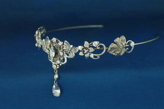 Silver circlet,  Victorian Headpiece Tiara, Renaissance Medieval Gothic Headdress, Elven Elvish Elvin LOTR  Arwen Galadriel crown via Etsy
