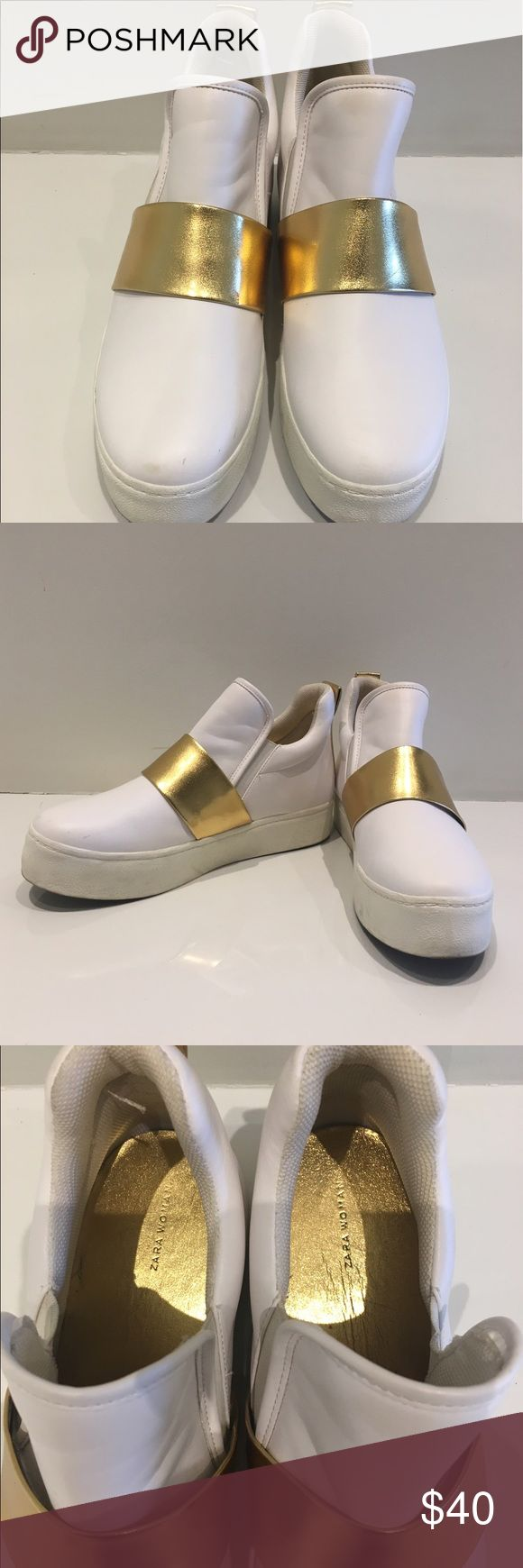 White and Gold High Top Platform Sneakers!✨😎 Good Condition!! Worn once! White and Gold Cool High top Platform Sneakers! I usually wear an 8. Zara 39 fits like an 8😎✨🖤 Zara Shoes Sneakers