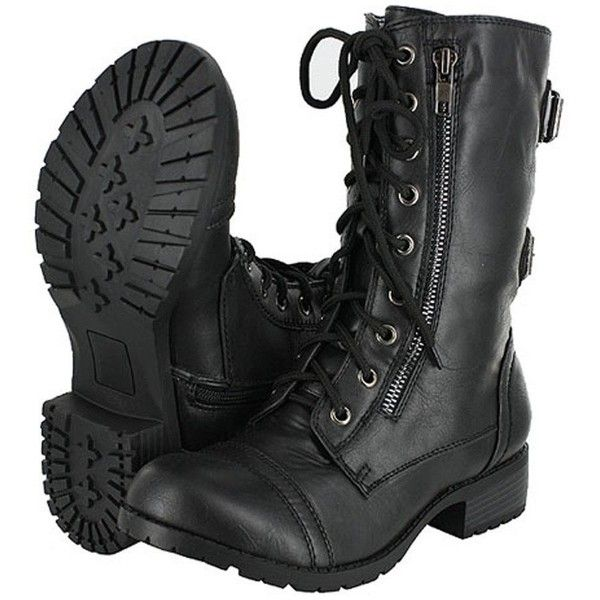 Top Moda Women's Pack-72 Lace Up Combat Boot ($9.99) ❤ liked on Polyvore featuring shoes, boots, ankle booties, mid calf military boots, fashion military boots, mid calf combat boots, combat booties and army military boots