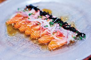 Salmon carpaccio, fusion Japanese