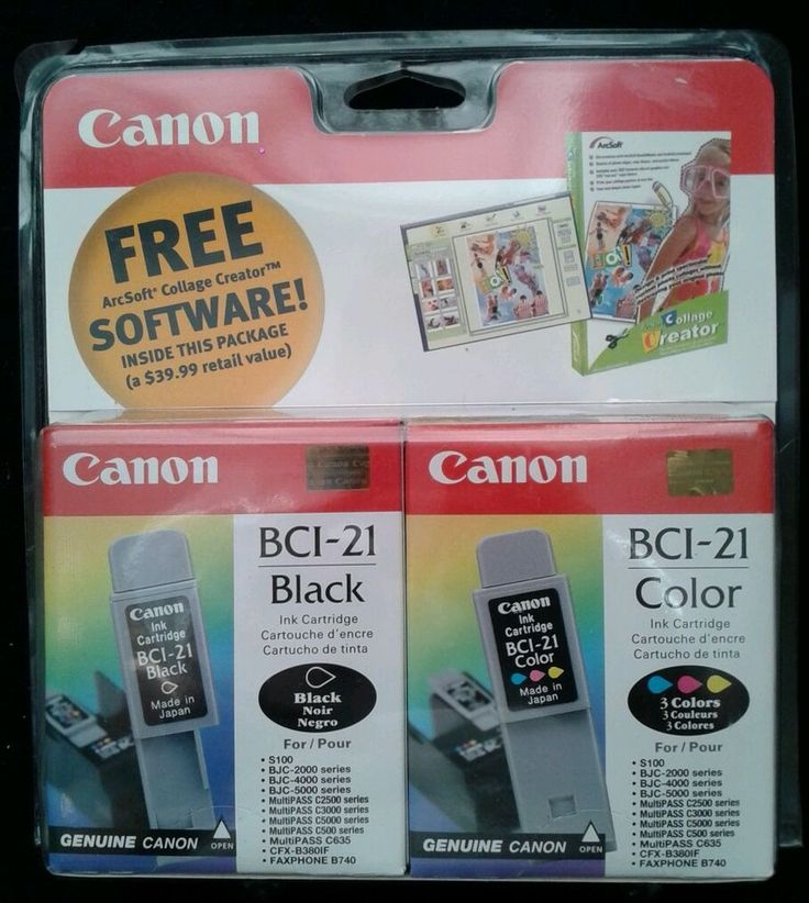 Canon BCI-21 Combo InkJet Cartridges BJC 2000 4000 5000 Arcsoft Collage Software #Canon