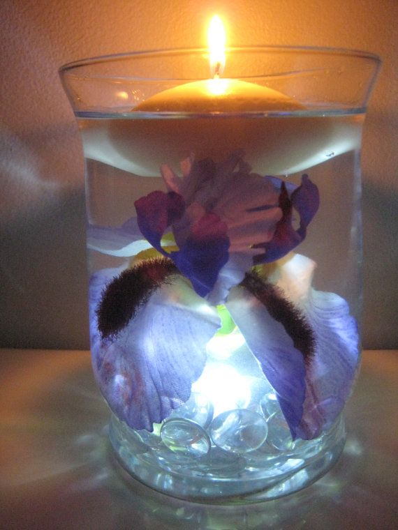 Purple iris floating candle wedding centerpiece kit by
