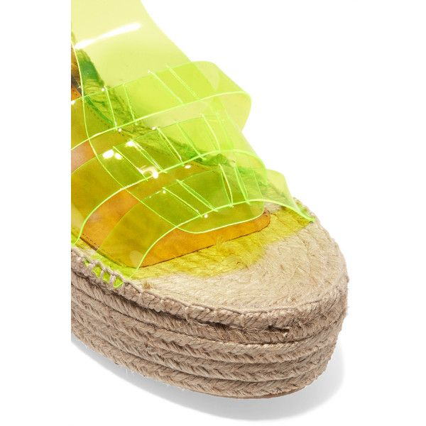 Paloma Barceló - Neon Yellow And Suede Espadrille Wedge Sandals ($124) ❤ liked on Polyvore featuring shoes, sandals, woven wedge sandals, platform espadrilles, strap sandals, espadrille flats and flats sandals
