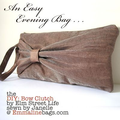Based off of the Yellow one I pinned earlier ... Emmaline Bags & Patterns: The Bow Clutch: An Evening Bag Beauty!