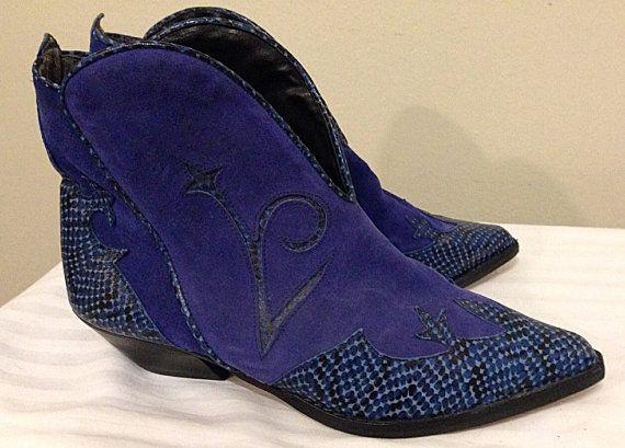 Vintage Vibrant Blue/Purple Ankle Boots Ladies Size 7 by LyndiLane