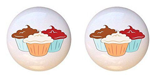 SET OF 2 KNOBS - Cupcakes from the Baking Day I Cherry Cherries Blue Collection - DECORATIVE Glossy CERAMIC Cupboard Cabinet PULLS Dresser Drawer KNOBS