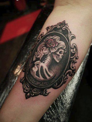Momento Mori Day of the Dead Skull Cameo Tattoo