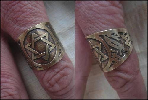 Anel Selo De Salomão, Hexagrama, Estrela De David Com Adagas - R$ 40,00